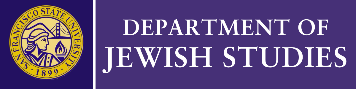 "yellow seal of San Francisco State University and the words ""Department of Jewish Studies,"" both on dark purple fields"